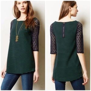 Anthropologie post mark navy stripe green tunic